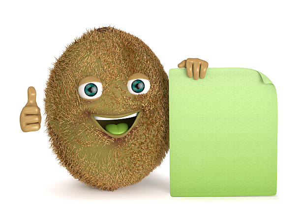 kiwi with a sign stock photo