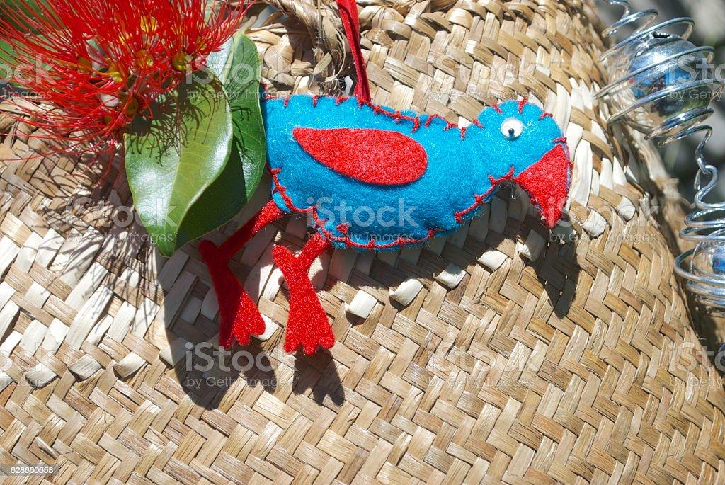 Kiwiana Christmas Wrapping, A Kete & Pukeko Decoration stock photo