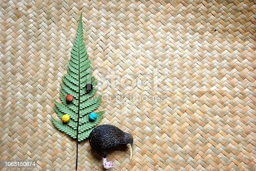 Kiwiana New Zealand Christmas Background; Christmas Tree Concept with Silver Fern