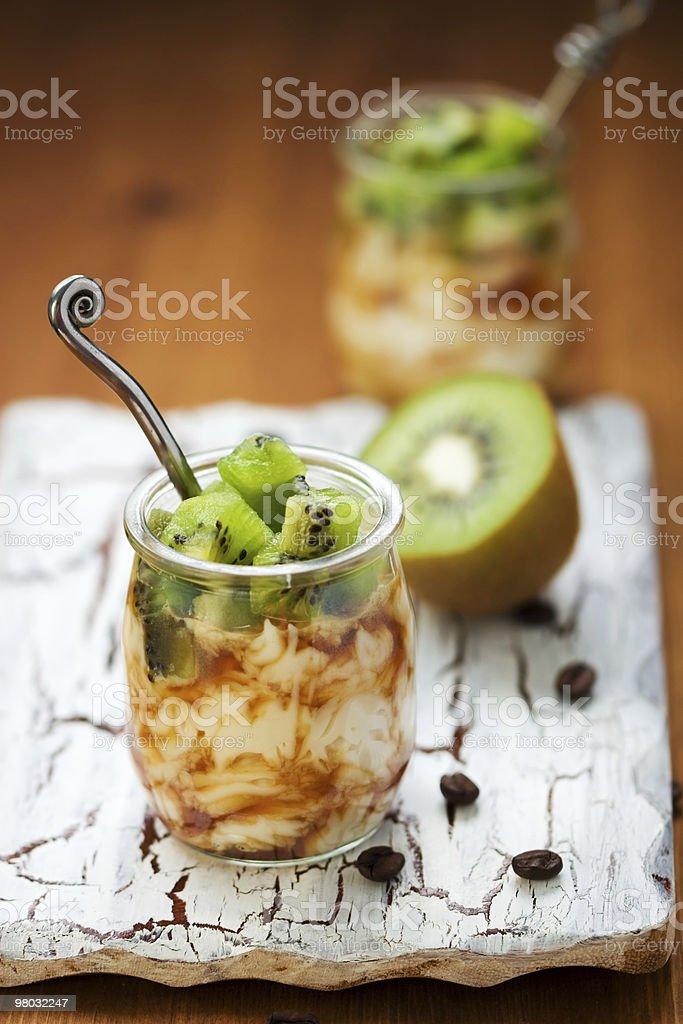 kiwi,coffee and ricotta dessert royalty-free stock photo