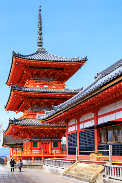 Kiyomizu Dera Pagoda Kyoto, Japan - 31st January, 2018.  The Kiyomizu-dera Shrine is a hugely popular location in Kyoto.  National and international tourists flock here all year long. shinto stock pictures, royalty-free photos & images