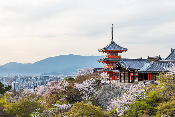 kiyomizu dera temple in spring - kyoto fotografías e imágenes de stock