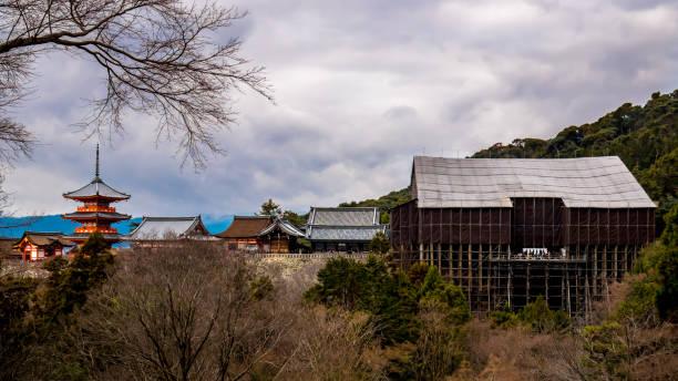 Kiyomizu temple with main building under repairs stock photo