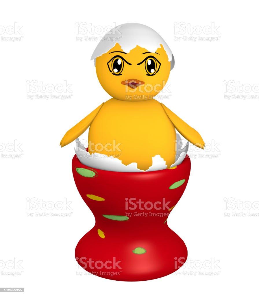Küken, in einer Eierschale mit Augen im Manga Stil in einem roten Eierbecher mit punkten. stock photo