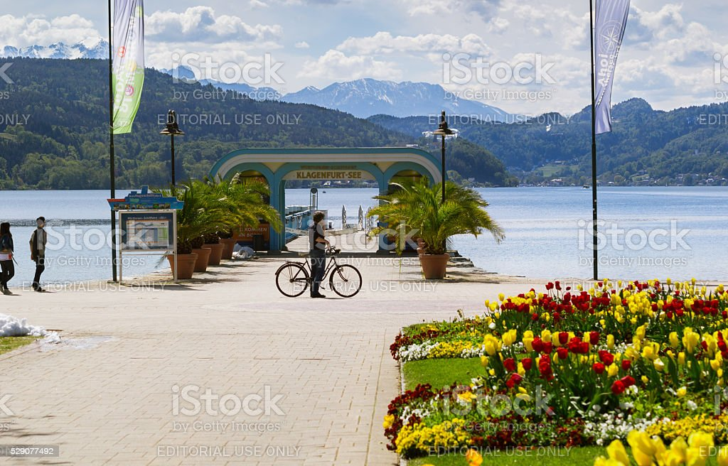 Klagenfurt Worthersee lake and mountains in Austria stock photo