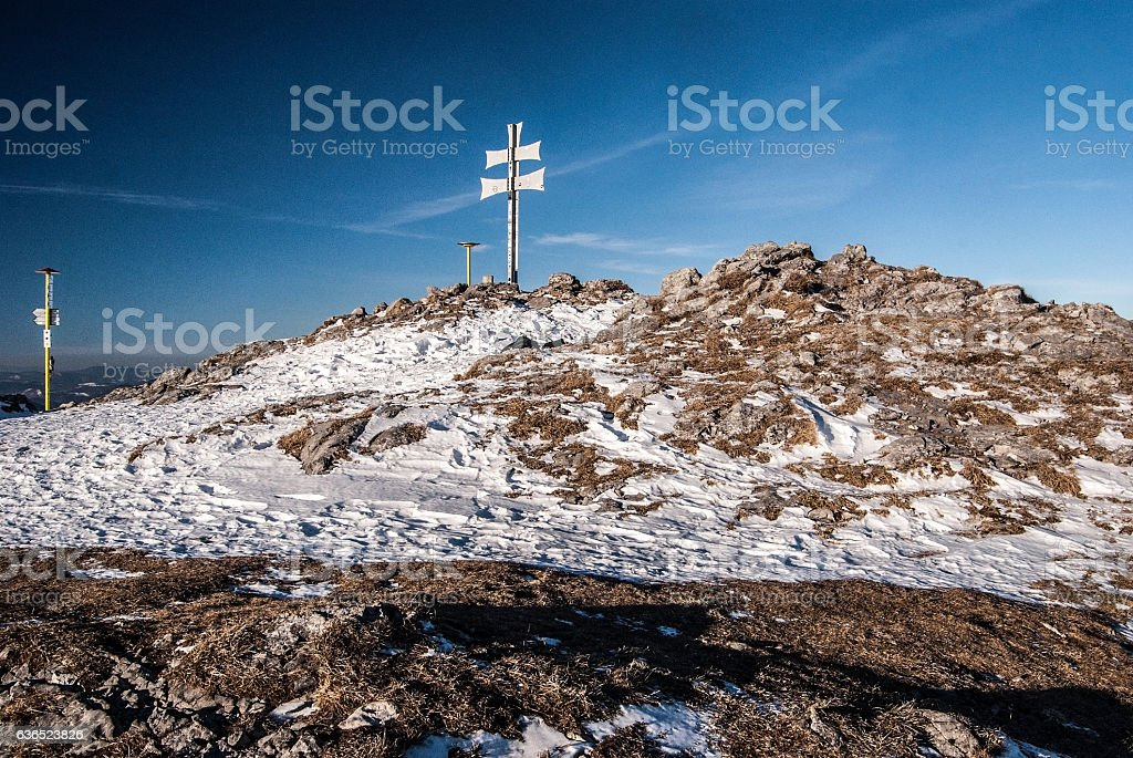 Klak hill in Mala Fatra mountains in Slovakia during winter stock photo