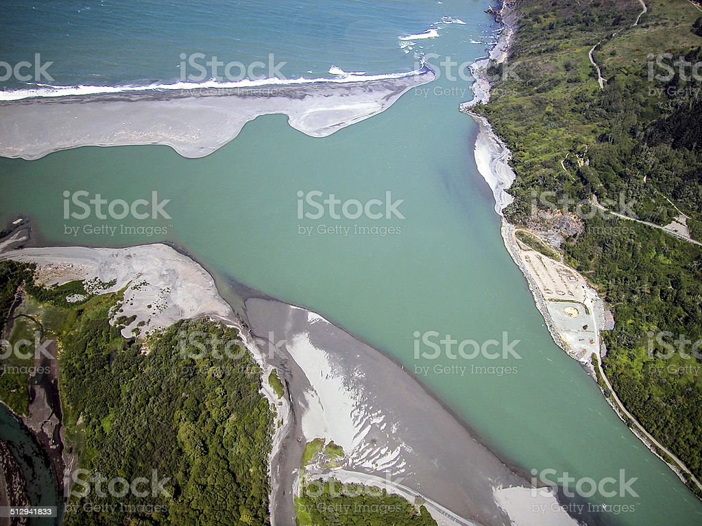 Klamath River Mouth Aerial stock photo