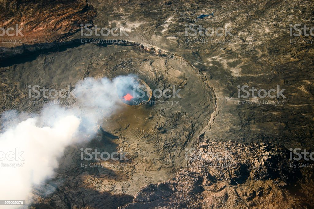 Kīlauea pele erupting at the Hawaii volcanoes national park stock photo