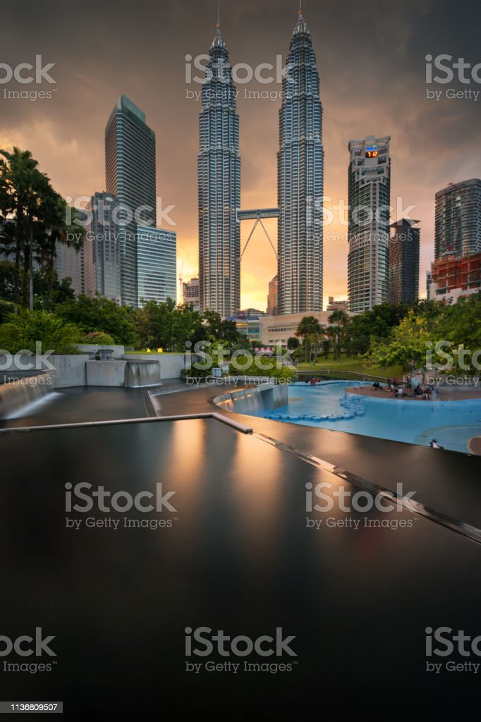 Klcc sunset cityscape view stock photo