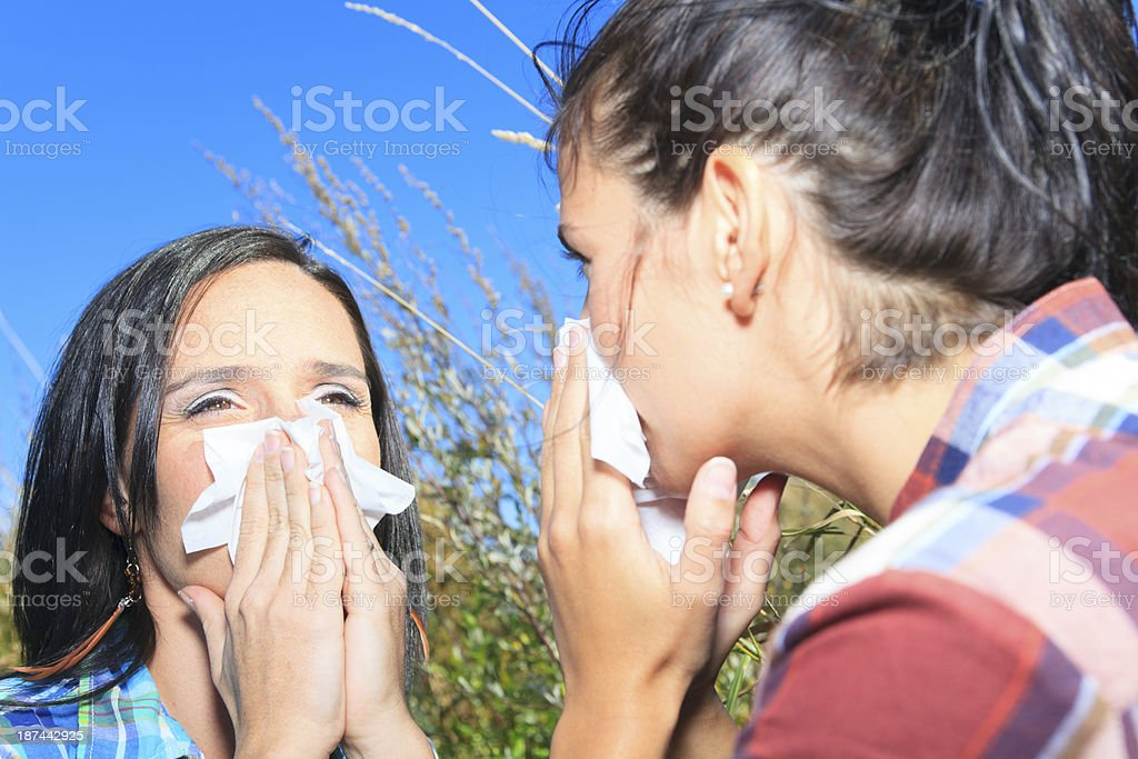Kleenex and Allergy Two Woman royalty-free stock photo