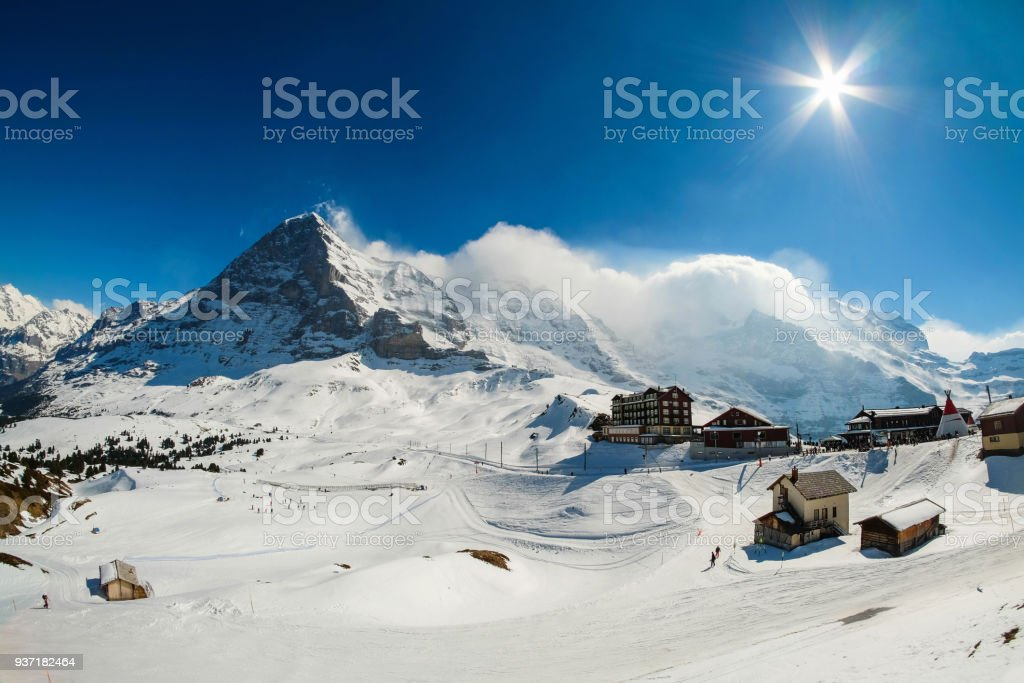 Kleine Scheidegg station, along the railway from Interlaken to Jungfraujoch (3,466 m). In daylight atI Switzerland stock photo