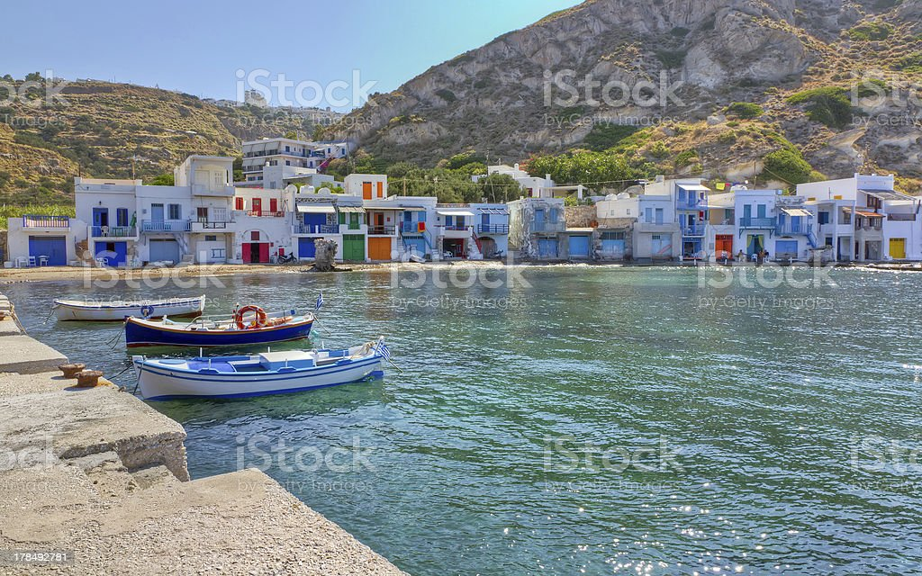 Klima fishing village, Milos island, Cyclades, Greece royalty-free stock photo