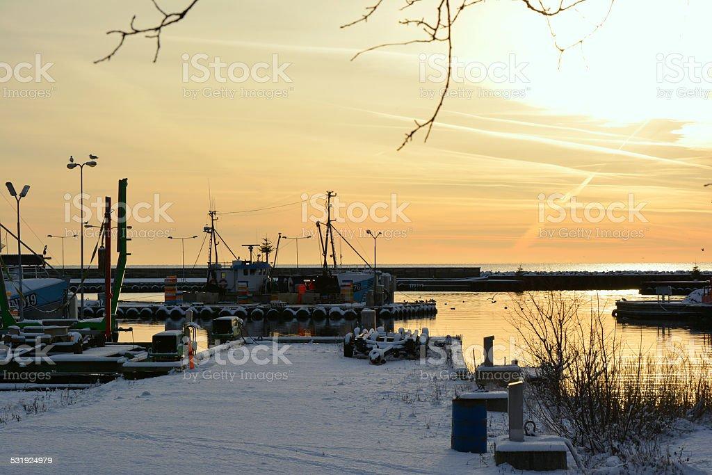 Klintholm Havn im Winter stock photo