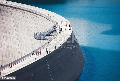 Concrete dam with skywalk platform in an Austrian valley Malta.