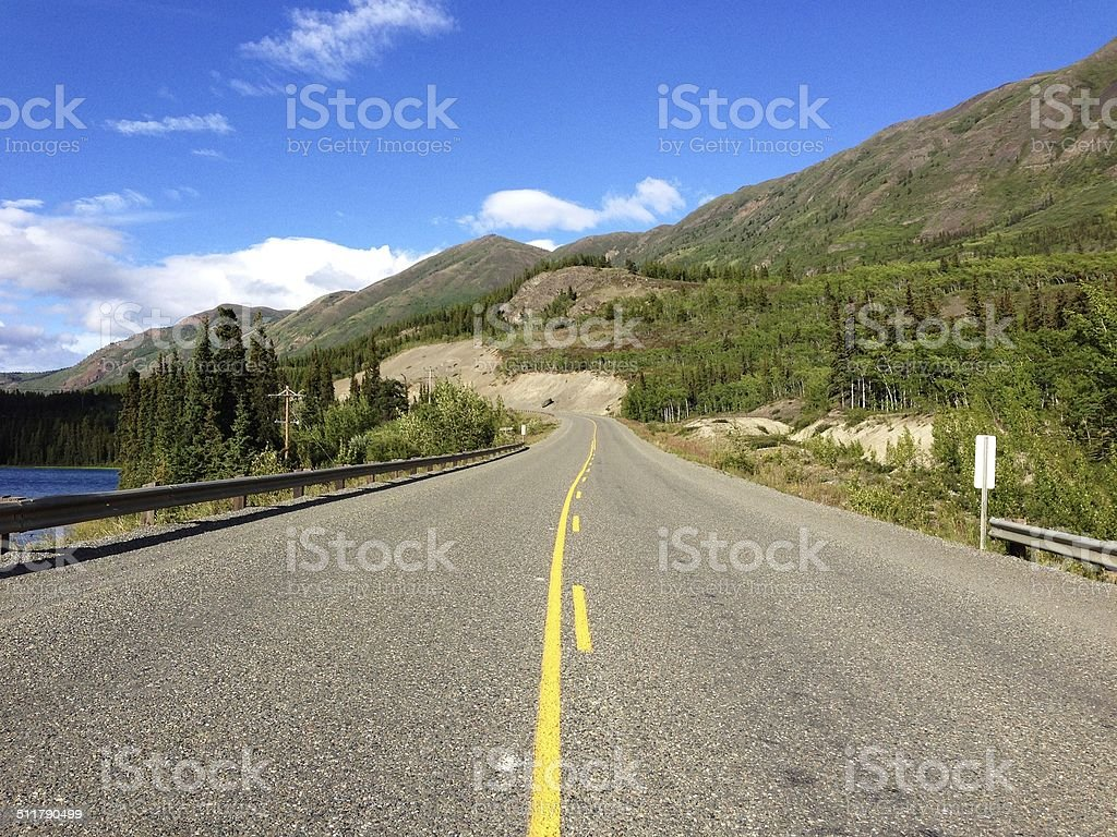 Klondike Highway near Whitehorse, Yukon, Canada stock photo