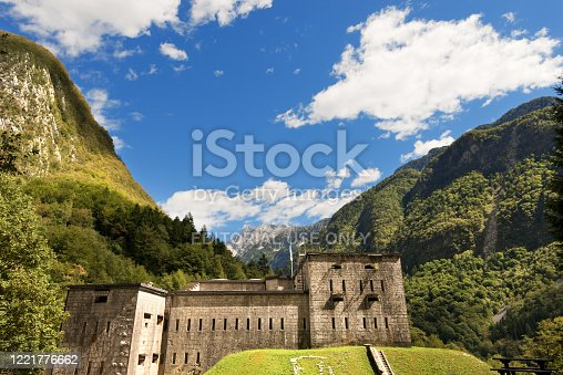Bovec, Slovenia - September 3th, 2013: Kluze Fortress, of the Austrian empire, First World War. It was built in the Koritnica river valley in northwestern Slovenia in the border protection near the small town of Bovec or Plezzo