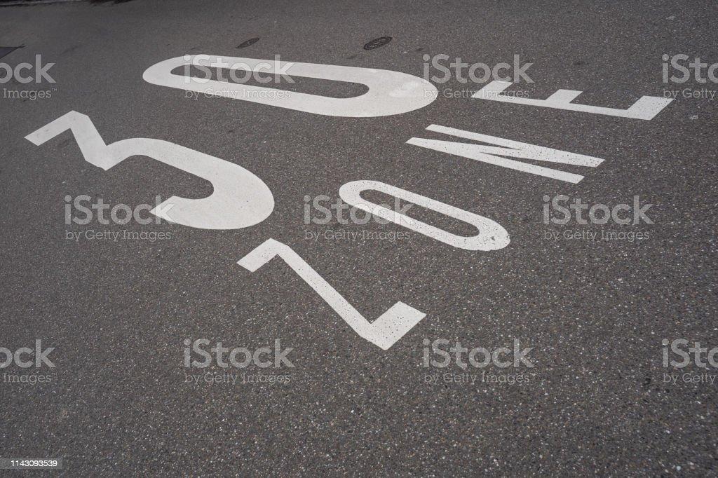 30 km limit on the asphalt . Typical german inscription