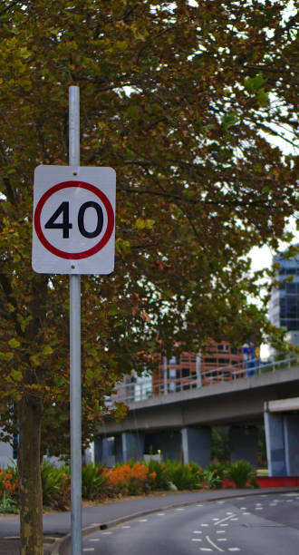 40 km per hour speed limit sign 40 km per hour speed limit sign on road side 40 kilometre stock pictures, royalty-free photos & images