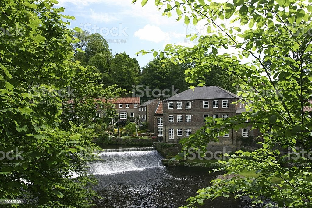 Knaresborough, England mill buildings by river converted to appartments stock photo