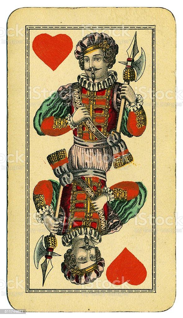 Knave of Hearts playing card Tarot Austrian Tarock 1900 stock photo