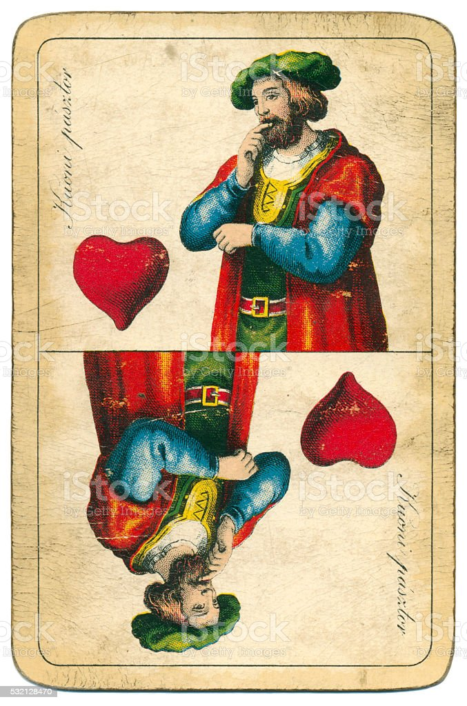 Jack of Hearts playing card William Tell Hungary 1890 stock photo