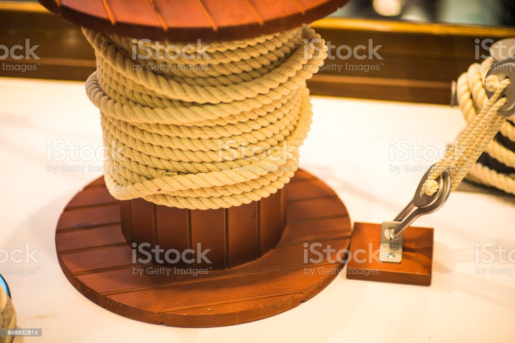 Knecht. A curbstone on the deck of the ship or on the dock to secure the ropes. stock photo
