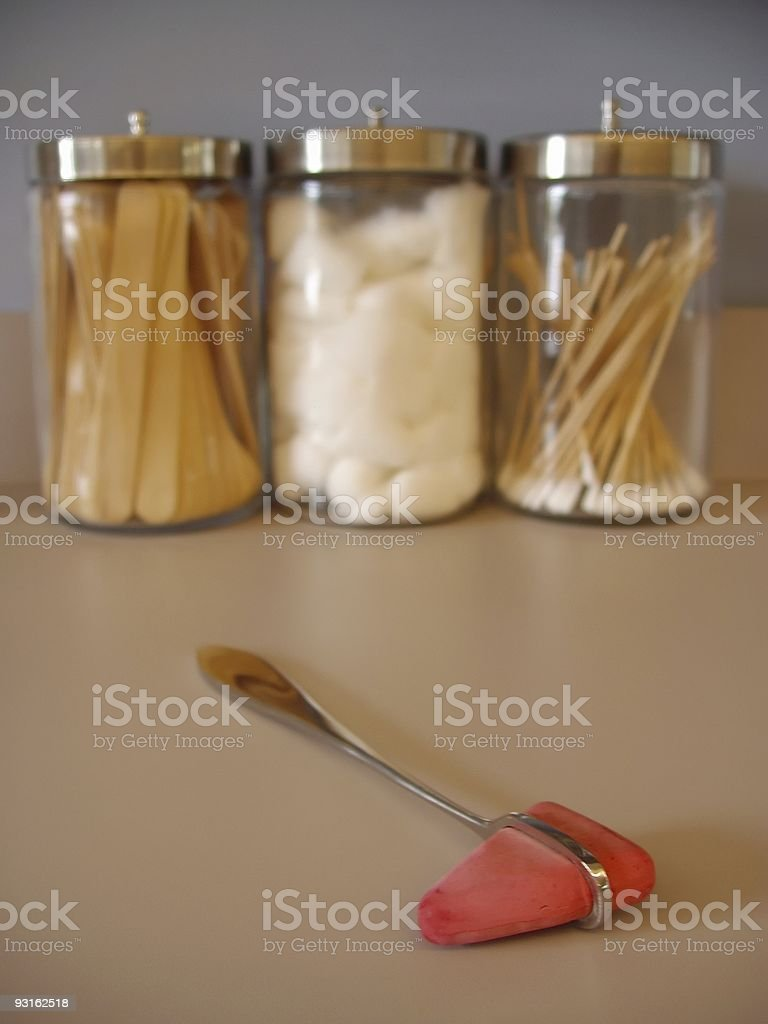 Knee Hammer and Glass Jar royalty-free stock photo