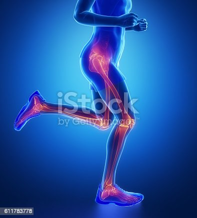 istock Knee, hip, ankle - running man leg scan in blue 611783778