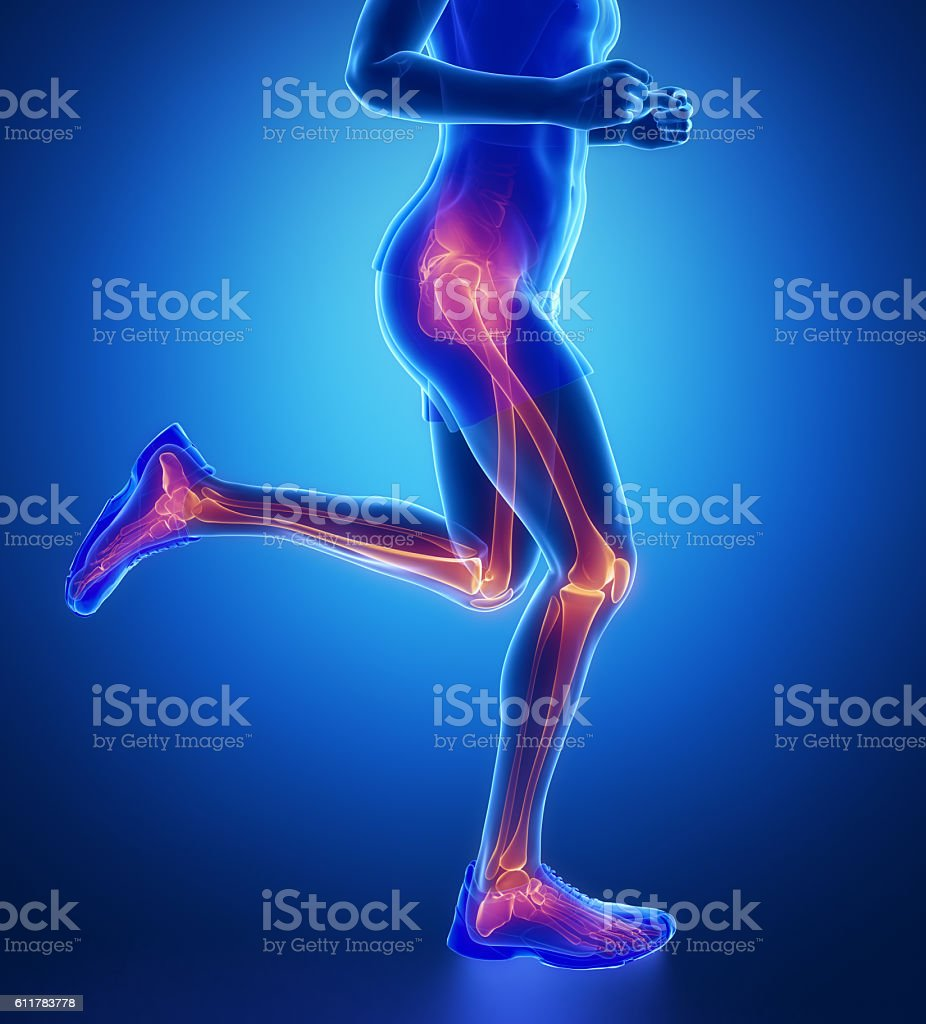 Knee, hip, ankle - running man leg scan in blue - foto de stock