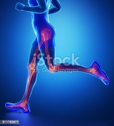istock Knee, hip, ankle - running man leg scan in blue 611783872