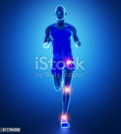 istock Knee, hip, ankle - running man leg scan in blue 611784006