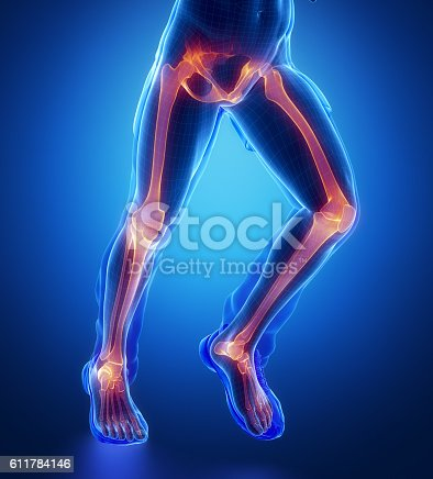 istock Knee, hip, ankle - running man leg scan in blue 611784146