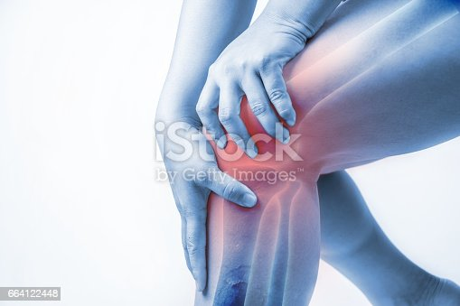 istock knee injury in humans .knee pain,joint pains people medical, mono tone highlight at knee 664122448