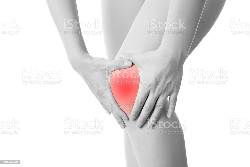Knee pain of the woman isolated stock photo