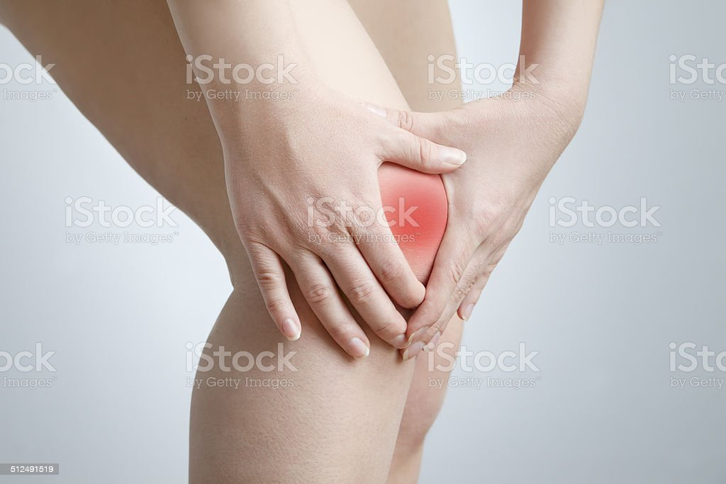 Knee pain of the woman stock photo