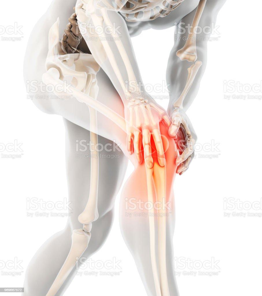 Genou douloureux-skeleton x-ray. photo libre de droits