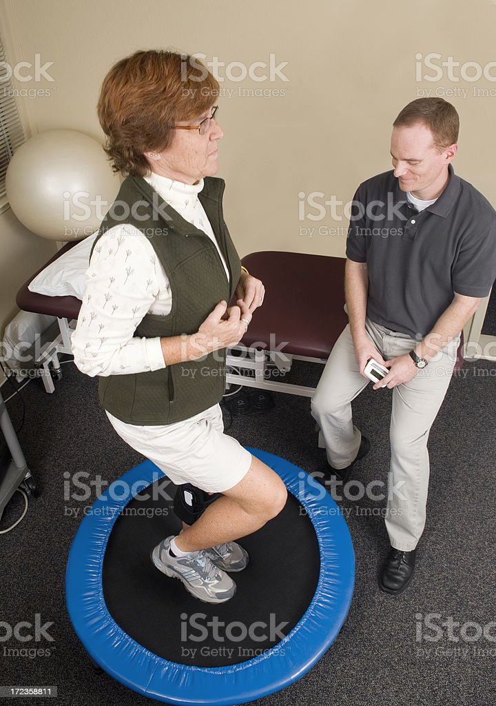 Knee Physical Therapy on Trampoline royalty-free stock photo