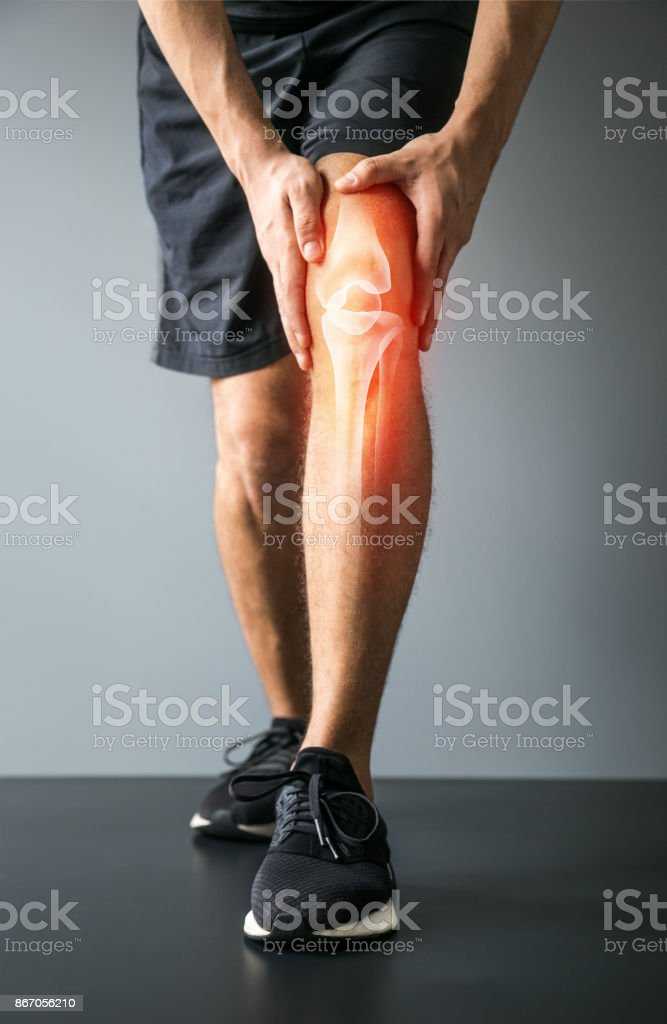Knee trauma and joint pain-Sports injuries stock photo