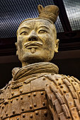 The famous Kneeling Archer unearthed in Pit 2 of the Terracotta Army. Altogether 160 kneeling archers were found in pit 2.  Xian, Shaanxi province, China