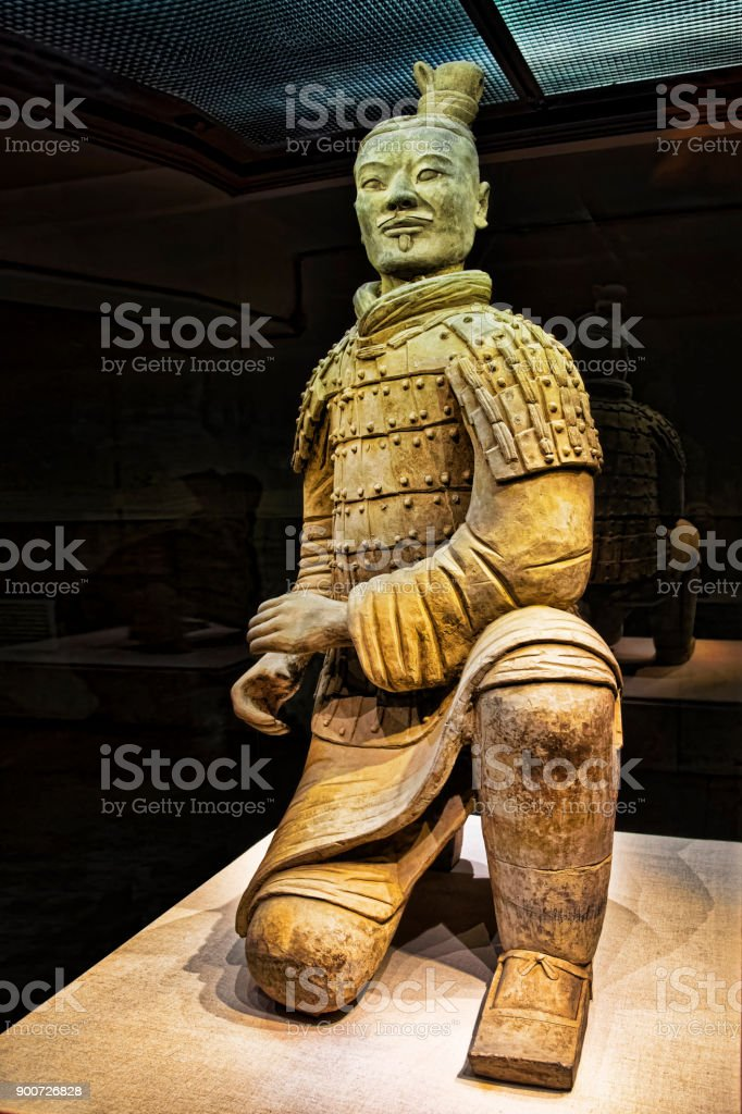 Kneeling Archer unearthed in Pit 2, Terracotta Army Xian China stock photo