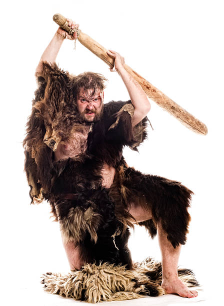 Kneeling Cave man in bear skin with a big stick on white stock photo