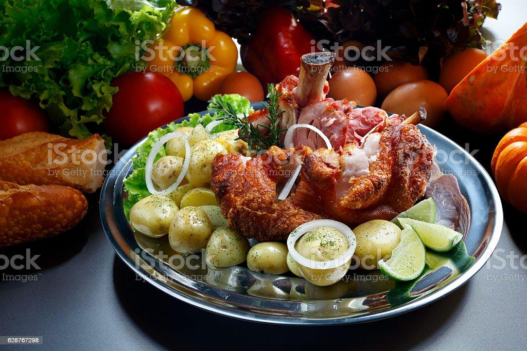 Knee-smoked pork stock photo
