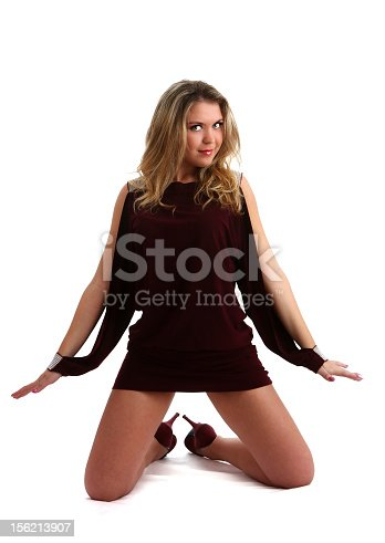 beautiful young woman stand on a white bakcground