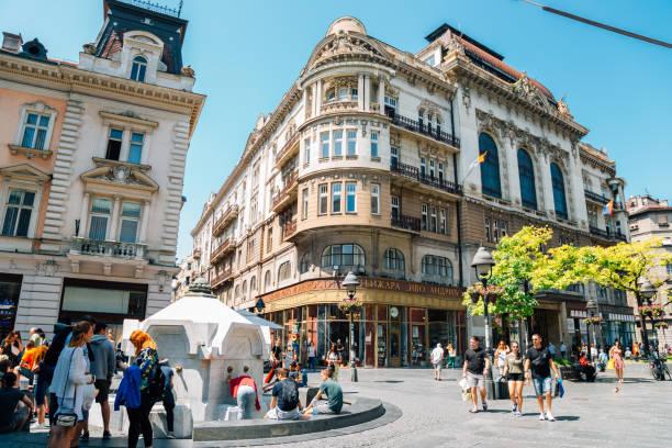 Knez Mihailova main shopping street in Belgrade, Serbia stock photo