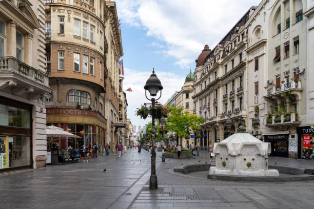 Knez Mihailova Street - main street in Belgrade stock photo