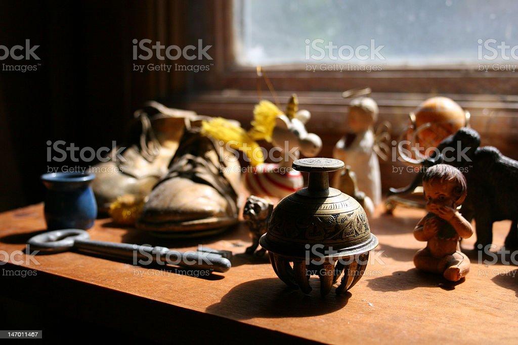 Knick-knacks on a Dusty Shelf stock photo