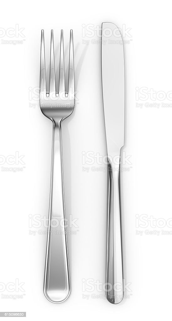 Knife and fork. 3d illustration stock photo
