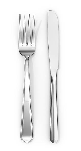 Knife and fork. 3d illustration stock photo