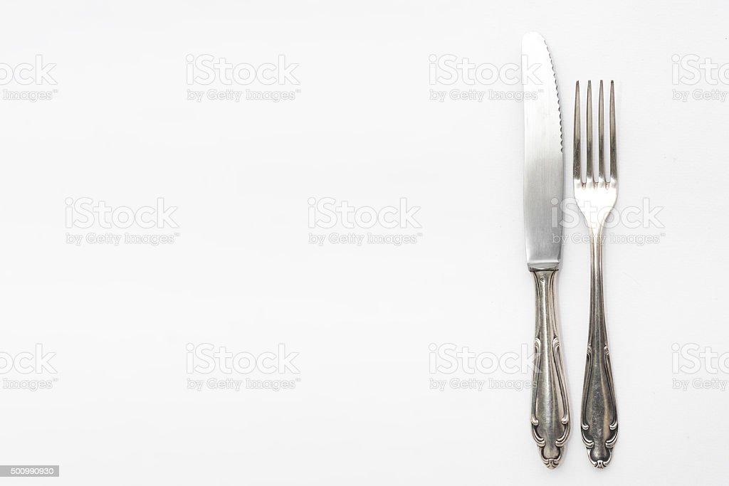 knife and fork, beautiful old silver cutlery stock photo