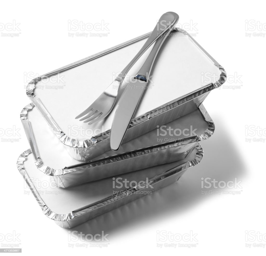 Knife and Fork on Takeaway Boxes royalty-free stock photo